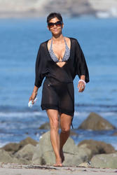 Halle Berry - Hitting The Malibu Beach...Again In A Blk  C-Through Cover-up (4/1/11)