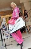 Paris Hilton in pink at Samantha Thavasa Store in Tokyo